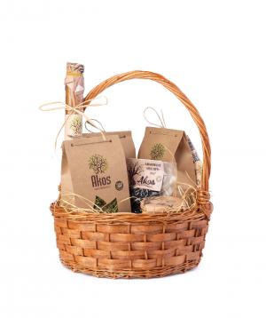"Basket ""Akos"" with tea, fruit lavash, dried fruit and  jam"