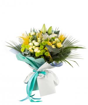 Ծաղկեփունջ « Մորատուվա» լիլիաներով, վարդերով  և քրիզանթեմներով