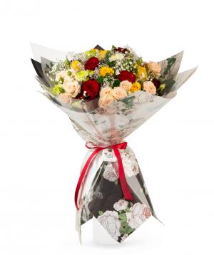 Ծաղկեփունջ «Ասվան» վարդերով և գիպսոֆիլիաներով