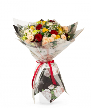 Bouquet `Aswan` with roses and gypsophilias