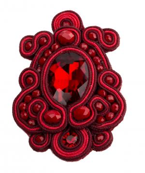 "Brooch ""LilmArt"" handmade red agate"