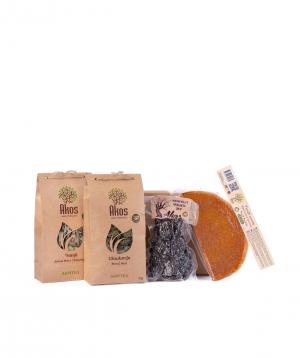 "Gift box ""Akos"" with tea, fruit lavash, dried fruit"