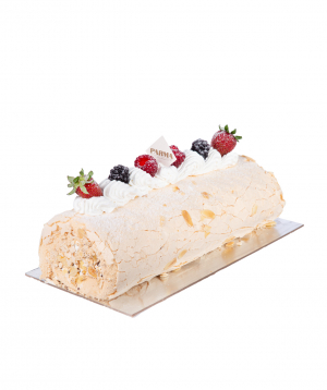 Roll-Cake `Meringue` with strawberries