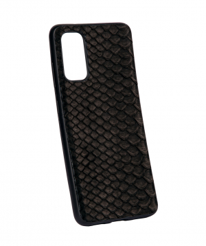 """Case """"Monarch"""" for phone, silicon, with a combination of genuine phyton leather №10"""