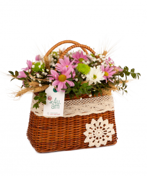 """Composition """"Novi"""" with chrysanthemums, gypsophilas and wheat ears"""
